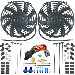 Dual 9 Inch Electric Radiator Cooling Fans 3 8 Npt Fan Ground Thermostat Kit