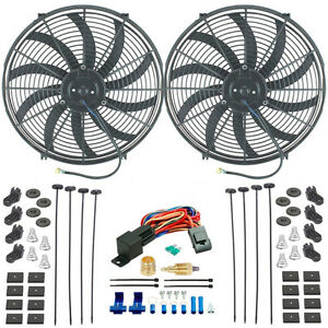 Dual 16 Inch Electric High Flow Slim Radiator Fans 1 2 3 8 Fan Thermostat Kit
