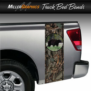 Black Bear 3 camo Huntingtruck Bed Band Stripe Decal Graphic Sticker Kit