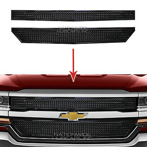 2016 18 Chevy Silverado 1500 Black Web Grille Overlay Front Grill Covers Inserts