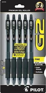 Pilot G2 Premium Gel Ink Roller Ball Pens Fine Point Black Ink 5 Ea 6pk