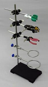 9 Piece Lab Set 6x4 Stand 2 Support Rings 3 Extension Clamps