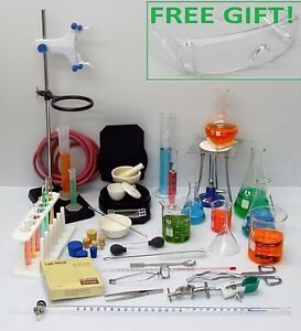 Deluxe Professional Lab Chemistry Set Glassware Hardware Balance Free Gift