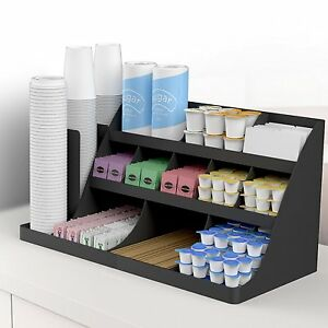 Condiment Organizer Rack Coffee Station Storage Office Break Room 14 Compartment