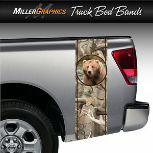 Brown Bear Camo Obliteration Truck Bed Band Stripe Decal Graphic Sticker Kit