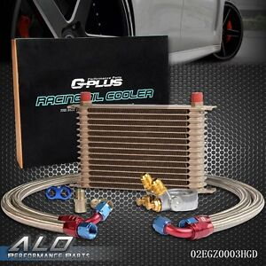 Gplus 15 Row Thermostat Adaptor Engine Racing Oil Cooler Kit For Car Truck