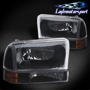 2000 2004 Ford Excursion 1999 2004 F 250 f 350 Factory Style Black Headlights