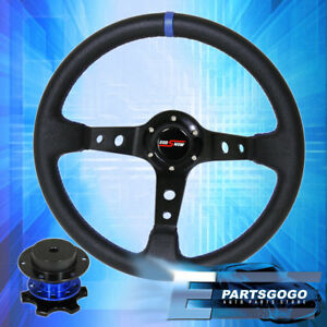 Universal 350mm Black Blue Steering Wheel Zero Play Quick Release Godsnow Button