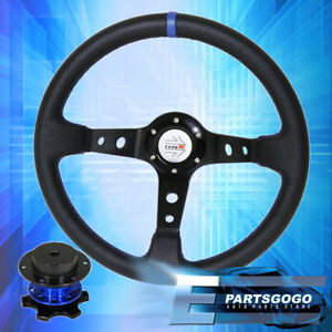 Universal 350mm Black Blue Steering Wheel Zero Play Quick Release Typer Button