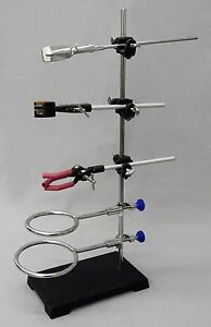 9 Piece Lab Set 8x5 Stand 2 Support Rings 3 Extension Clamps