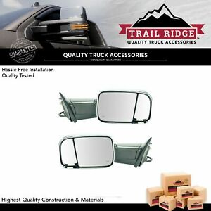 Trail Ridge Tow Mirror Power Fold Upgrade Heat Signal Memory Chrome Pair For Ram