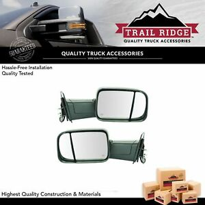 Trail Ridge Towing Mirror Power Heated Marker Light Textured Pair For Dodge Ram