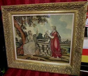 Antique Georgian English Silk Work Embroidered Tapestry Gold Gilt Framed 1700s