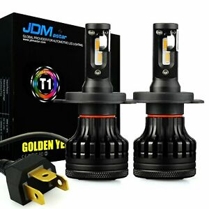 2x T1 H4 9003 3000k Golden Yellow Led Headlights Kit Extremely Bright Fog Bulbs