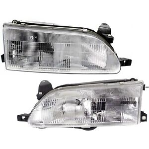 Headlight Set For 93 97 Toyota Corolla Left And Right With Bulb 2pc
