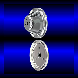 Chrome 2 Pulley Set For Small Block Chevy Short Wp Single Pulleys 283 327 350