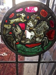 Vintage 1920 S Stained Glass Leaded Steel Window Spanish Tudor Medieval Style
