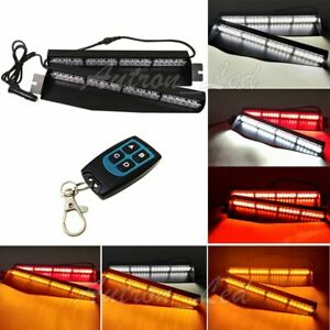 34 Led Red white amber 78 Flashing Modes Warn Emergency Strobe Visor Light Bar