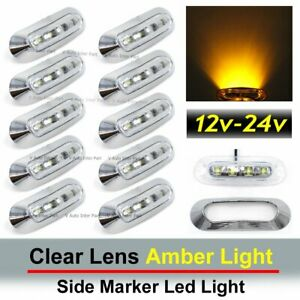 10x Clear Lens Amber 4 Smd Led Side Marker Tail Light Clearance Truck Trailer Us