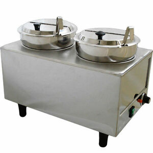 Dual well Countertop Food Warmer Commercial Soup Chili Chese Condiment Server