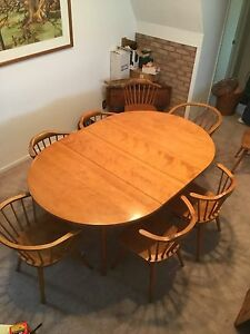1960 Mid Century Modern Conant Ball Dining Table 8 Chairs