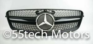 W212 Mercedes E Class E350 E550 Grill Grille Black 1 Fin Diamond Look 2010 2013
