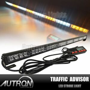 35 32w Led Flash Emergency Traffic Advisor Strobe Light Bar Amber White 12 24v