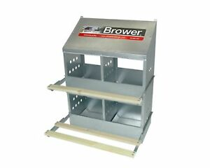 4 hole Brower Galvanized Metal Chicken Nesting Box Hinged Perches Made In Usa