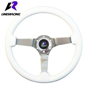 14 White Wood Grain Steering Wheel 6 Bolt 3 Dish Chrome Spoke horn For Buick