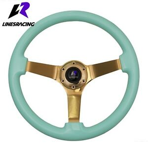 14 Blue Wood Grain Steering Wheel 6 Bolt 3 Dish Gold Spoke horn For Buick