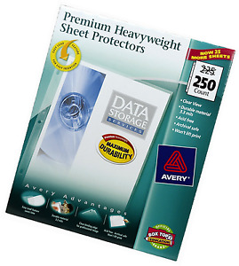 250 Avery Sheet Page Protectors Clear Heavy Duty Top Load Documents Storage Box