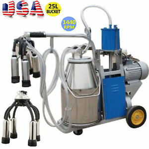 2019 Electric Milking Machine For Cows 25l Bucket Wheels Piston Vacuum Pump