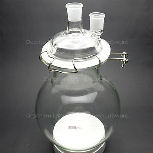 5000ml glass Reaction Flask 24 29 two Necks 5l round Bottom Chemistry Reactor