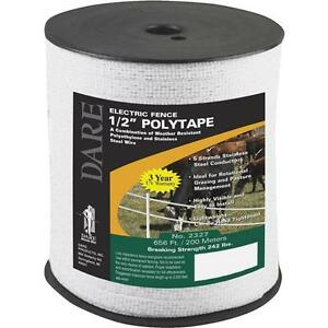 6 Pk Dare 1 2 Wide 656 Five Steel Strand Electric Fence Poly Tape 2327