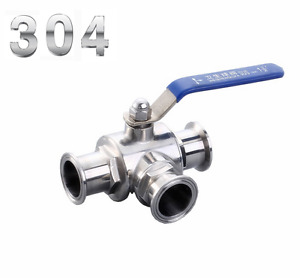 3 4 Stainless Steel 304 Three Way Clamp Connection T Type Sanitary Ball Valve