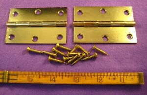Old Antique Vintage Stanley 6 Pc Butt Door Hinges Steel Plated Brass Made In Usa