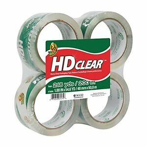 Duck Hd Clear High Performance Packaging Tape 1 88 X 54 6 Yards 4 Pack 240378