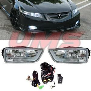 For 03 08 Honda Accord 4dr 03 07 Acura Tl Clear Fog Lights Lamps W Wiring Switch