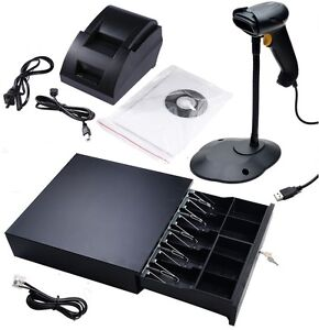Point Of Sale Pos Usb Thermal Receipt Printer Barcode Scanner Cash Drawer