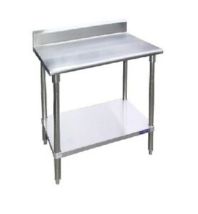 New Commercial 24 X 24 Stainless Steel Work Table Undershelf W 5 Back Splash