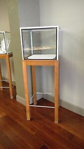 Elevated Square Glass Locking Display Case With Wood Metal Frame
