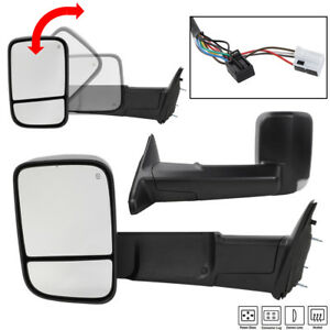 Pair For 2009 2012 Dodge Ram Pickup Power Heat Puddle Turn Lights Towing Mirrors