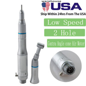Denshine Dental Low Speed Handpiece Kit Push Contra Angle Cone Air Motor 2 Hole