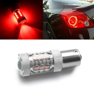 1x Red 80w 1156 7506 Projector Lens Led Bulb For Tail Light Backup Reverse Light