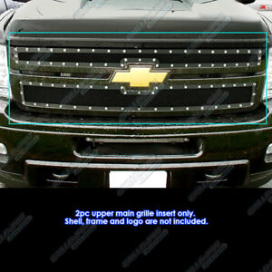 For 2011 2014 Chevy Silverado 2500hd 3500hd Black Rivet Studded Mesh Grille