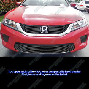 For 2013 2015 Honda Accord Coupe W Fog Light Cover Black Billet Grille Combo