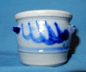 Cobalt Blue Decorated Mini Stoneware Salt Glaze 1 1 8 Handled Crock Miniature