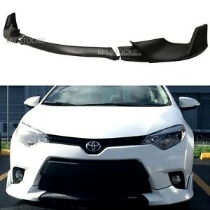 Fit 2014 2016 Toyota Corolla Base Model Pu Add On Front Bumper Lip Spoiler 3 Pcs