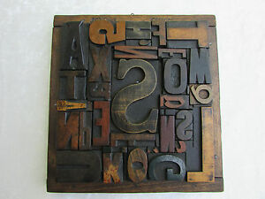 Antique Vintage Print Block Collage Antique Print Block Press Frame 8 X 8 5