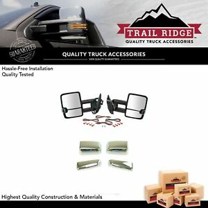 Trail Ridge Towing Mirror Power Heated Signal Spotlight Textured Chrome For Gm